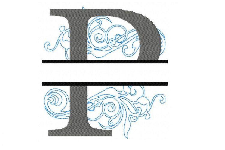 Embroidery Fonts Split Monogram P, Monogram Fonts Design