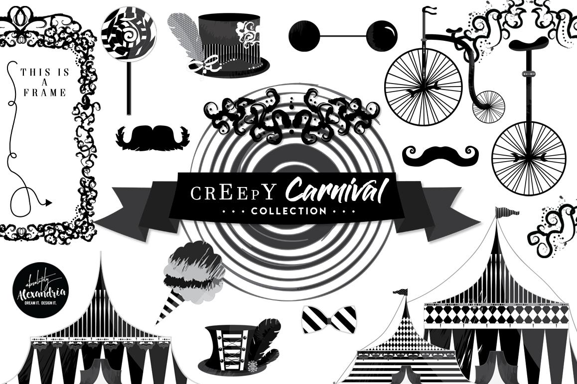 Creepy Carnival Clipart Graphics & Digital Paper Patterns Bundle example image 1