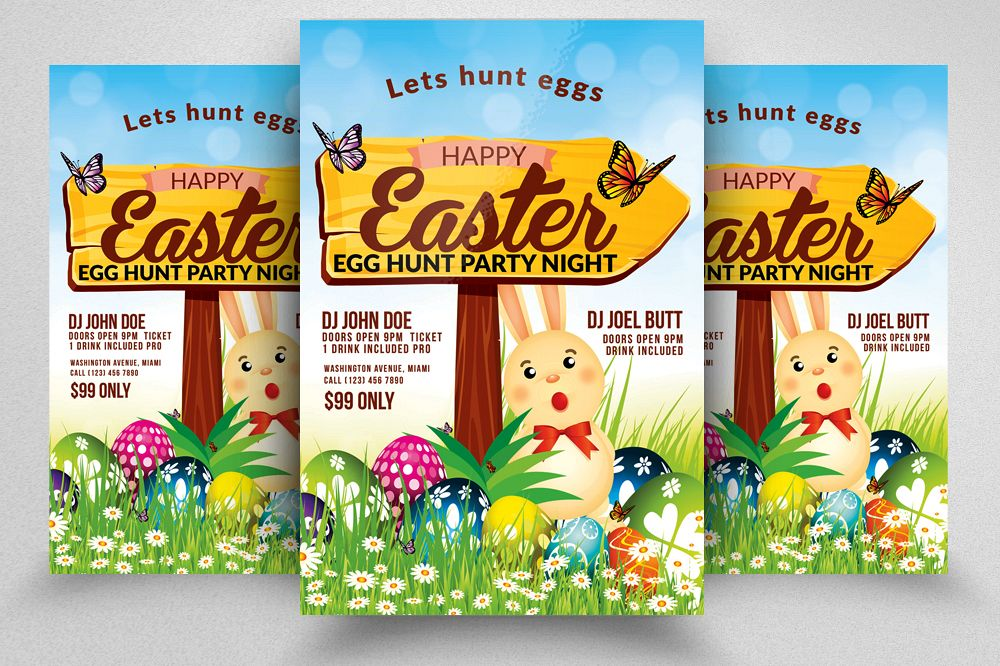 Easter Egg Psd Flyer Print Template example image 1