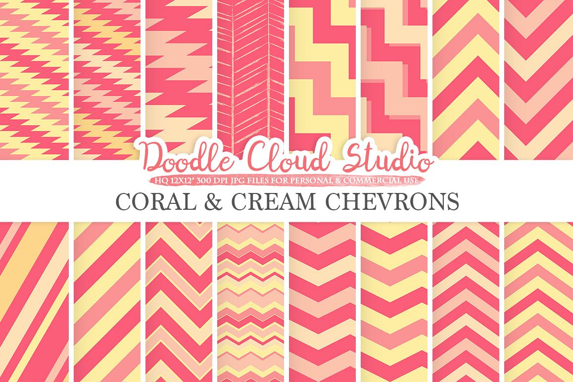 Coral and Cream Chevron digital paper, Chevron and Stripes  pattern, Zig Zag lines backgrounds for Personal & Commercial Use example image 1