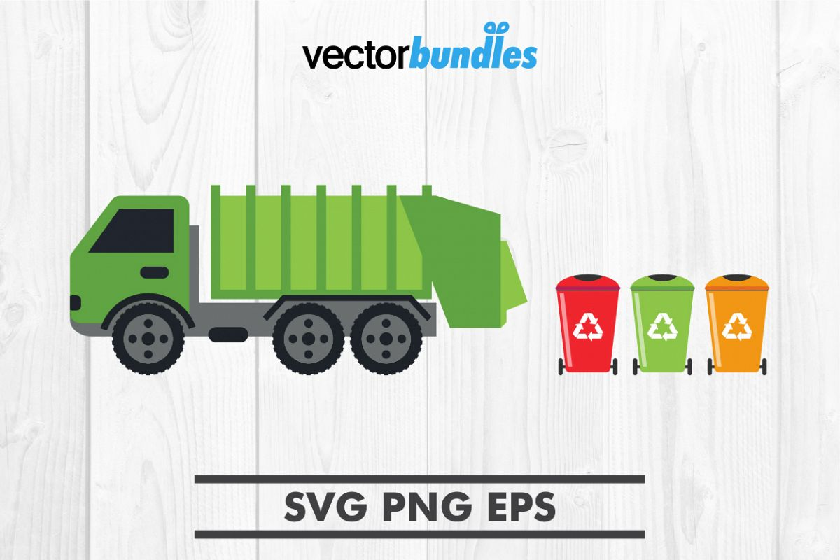 Garbage truck clip art svg example image 1