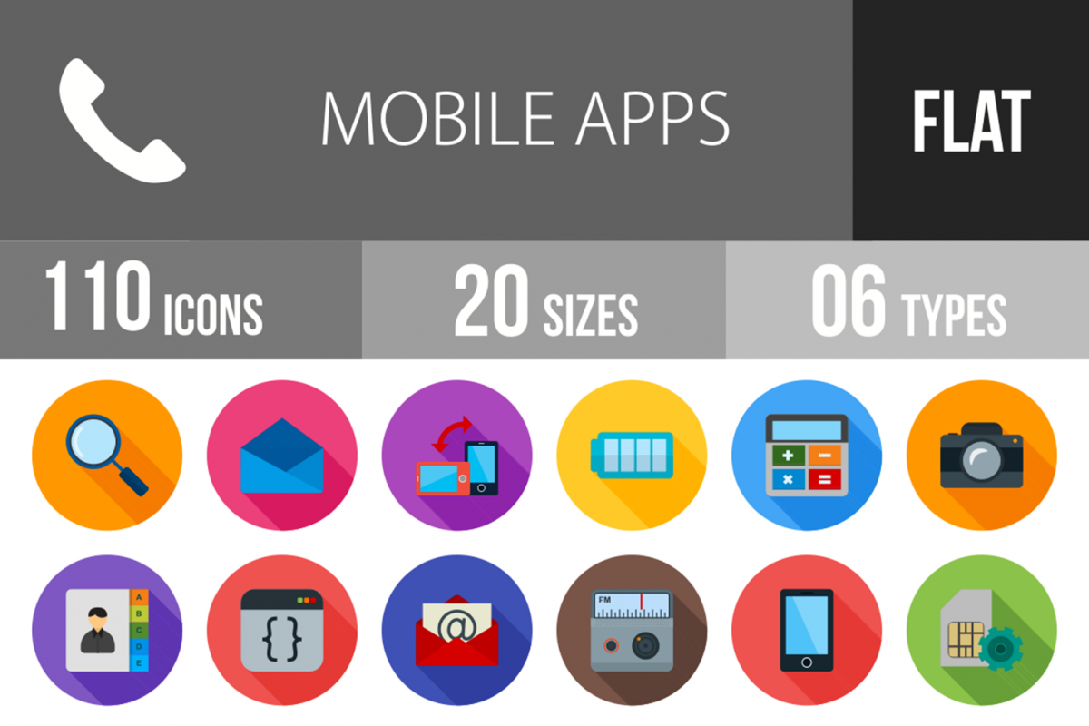 110 Mobile Apps Flat Long Shadow Icons example image 1