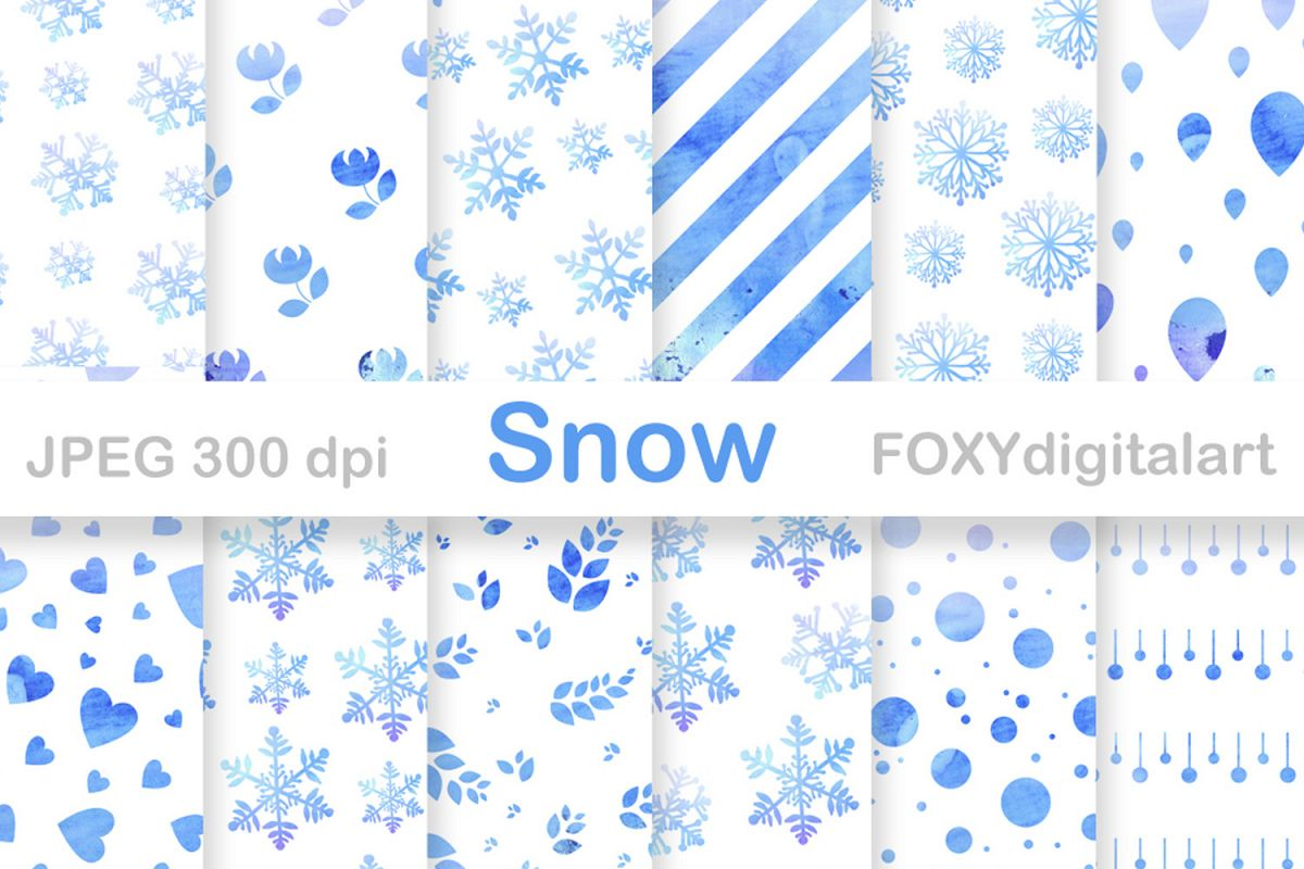 Digital paper christmas holiday winter snow flakes example image 1