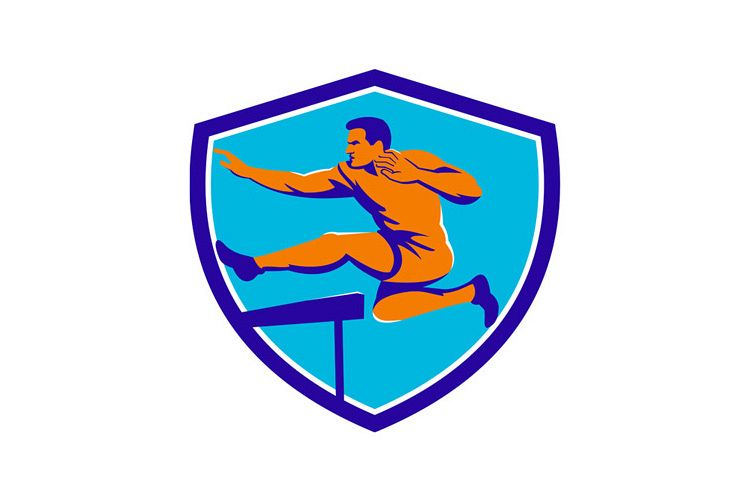 Track And Field Athlete Jumping Hurdle example image 1