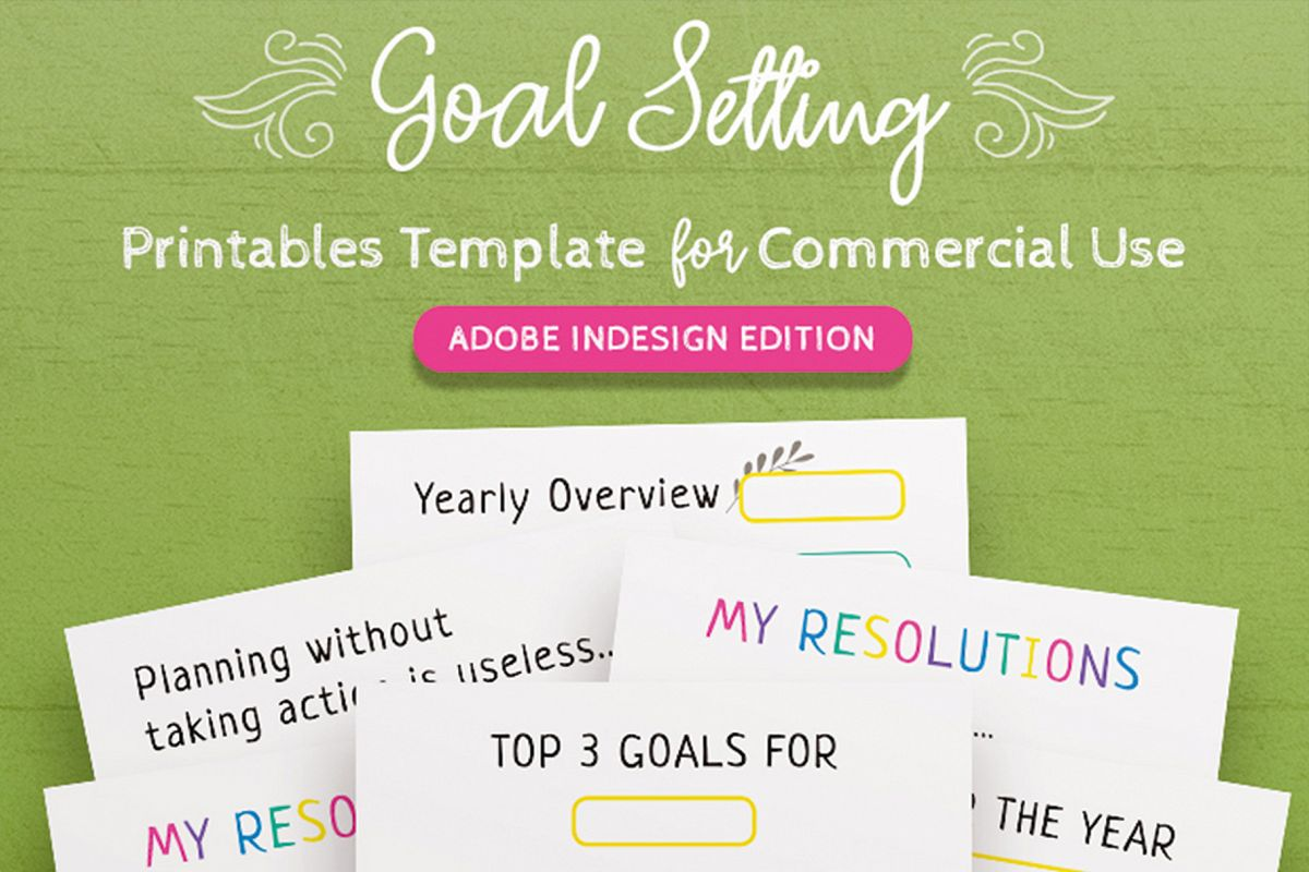 Goal Setting Printables InDesign Template example image 1