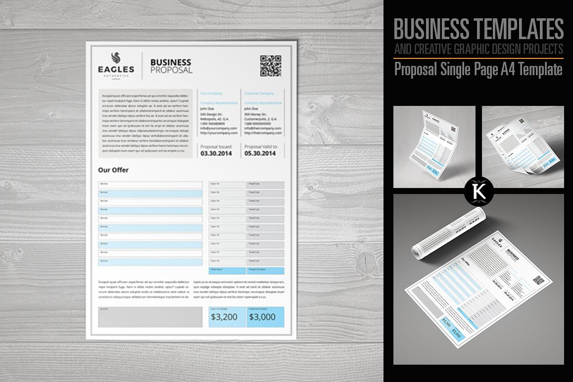 Proposal Single Page A4 Template example image 1