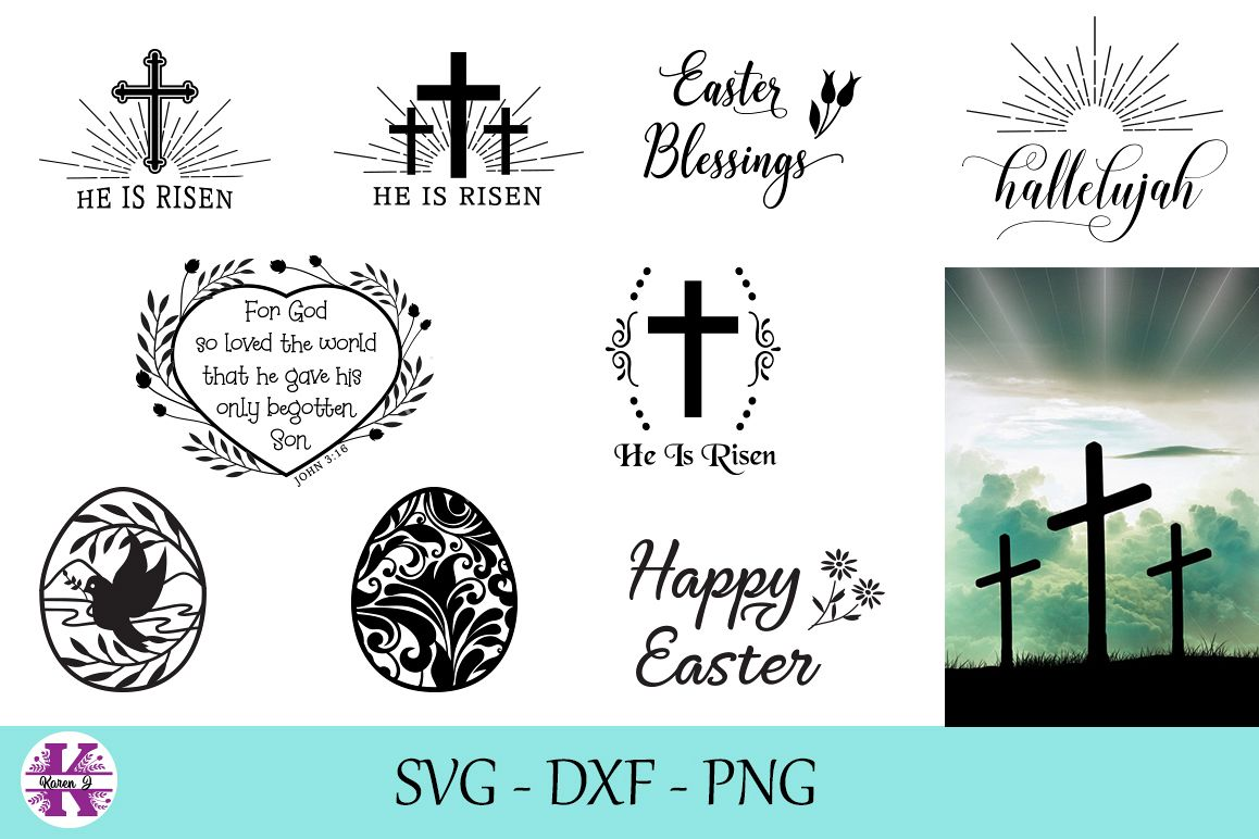 Easter SVG DXF PNG Bundle - For Crafters example image 1