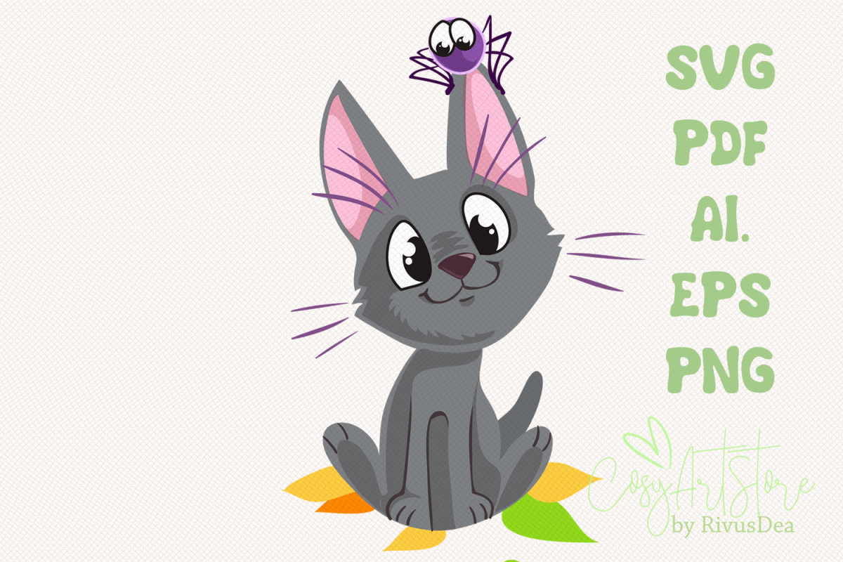 Black kitten SVG download, Cute cat PNG, Grey kitten example image 1
