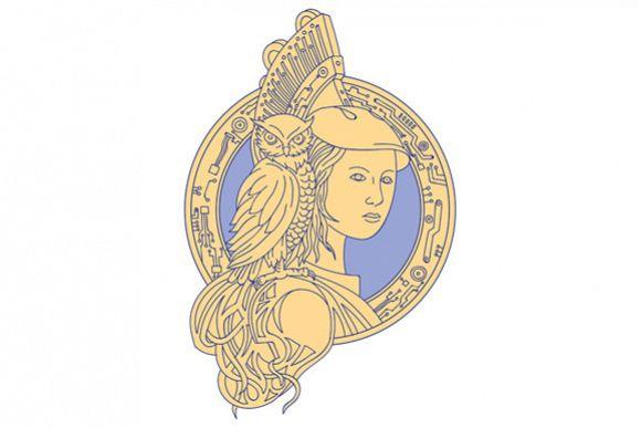 Athena with Owl on Shoulder Circuit Circle Mono Line example image 1