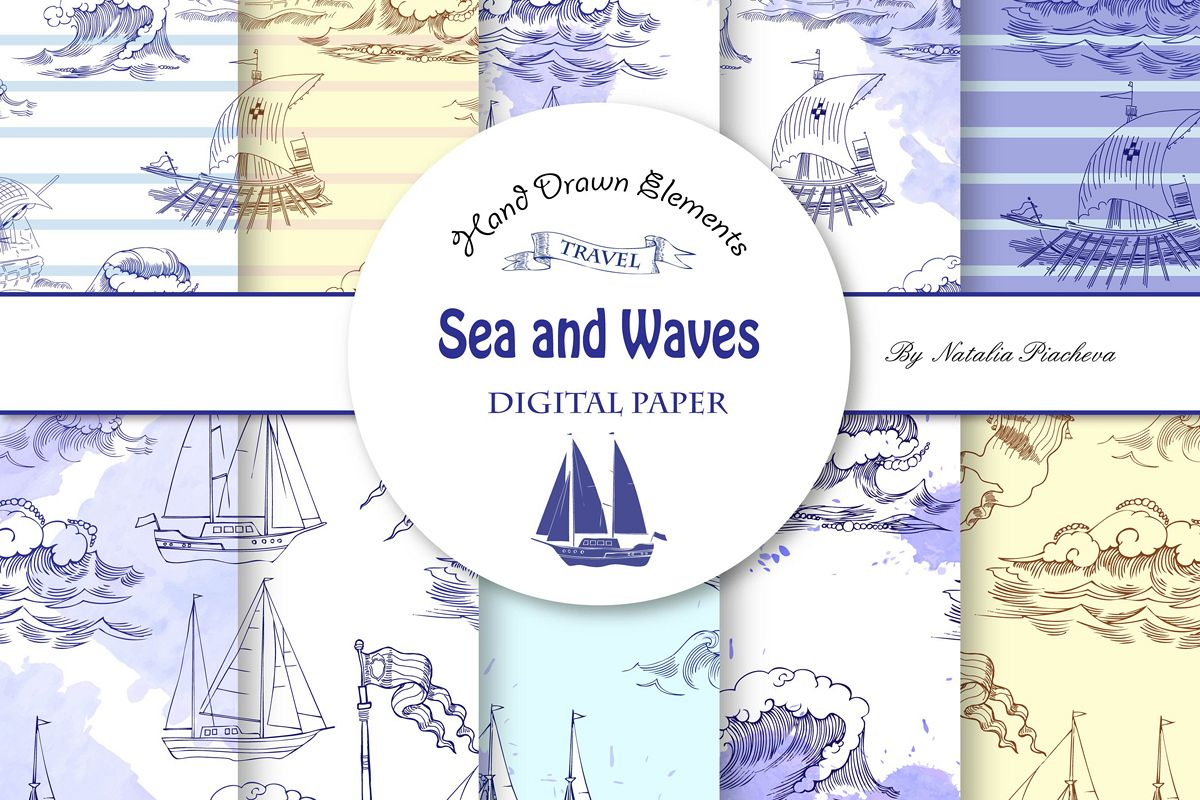 Sea and Waves.Digital Paper example image 1