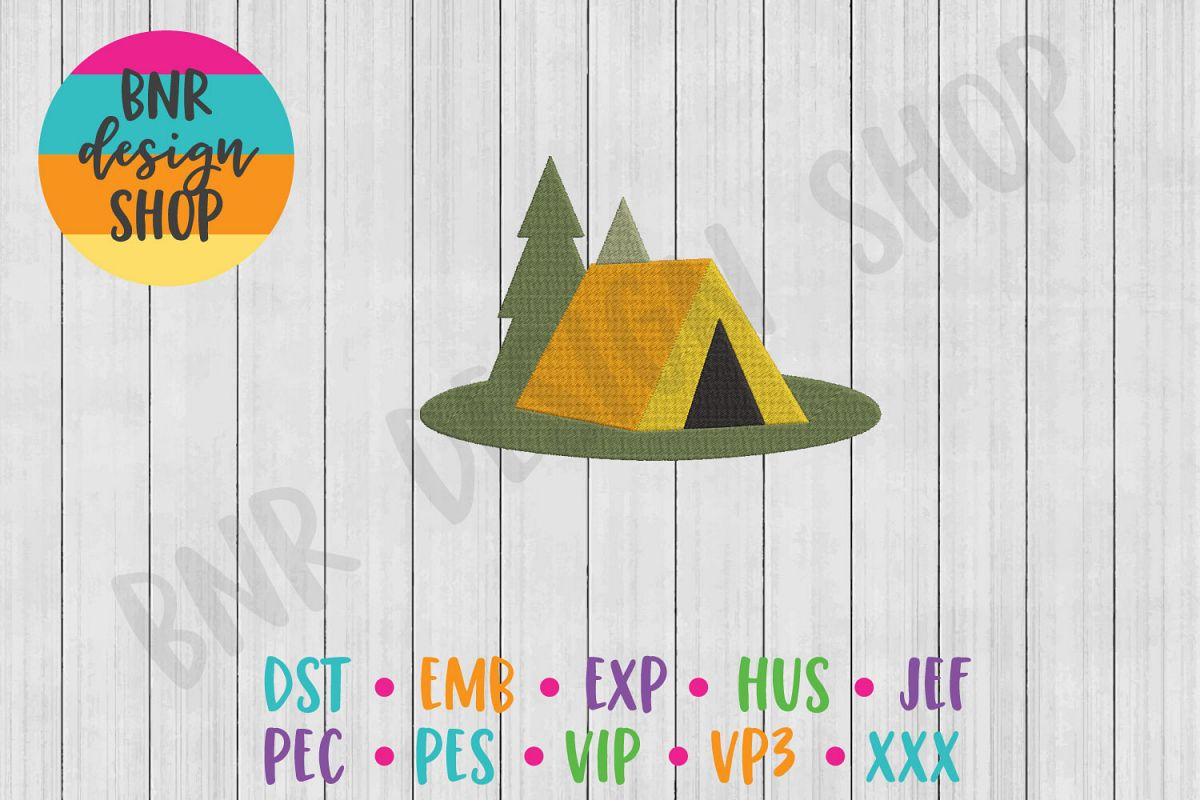Camping Machine Embroidery Design, Tent Embroidery example image 1