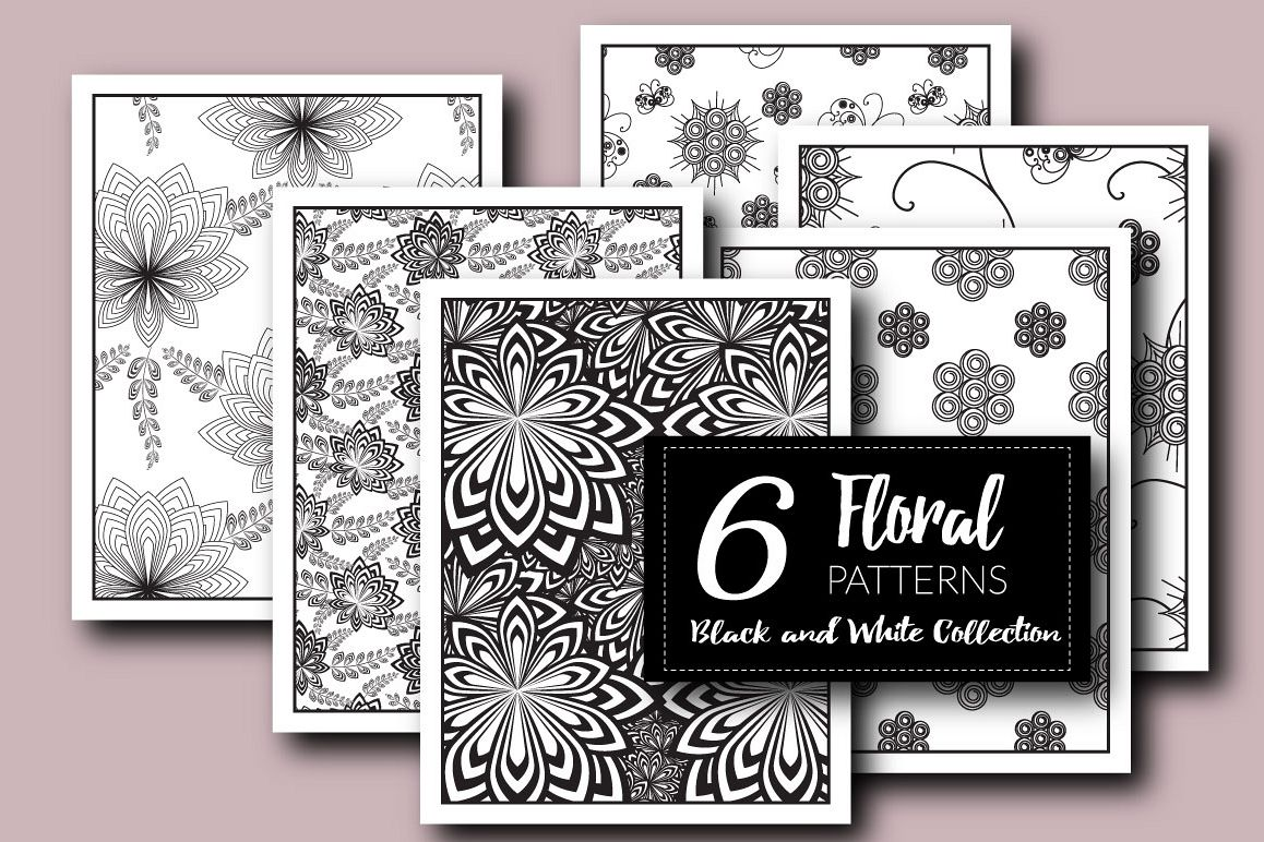 Floral Patterns Black And White Collection Eps Jpg