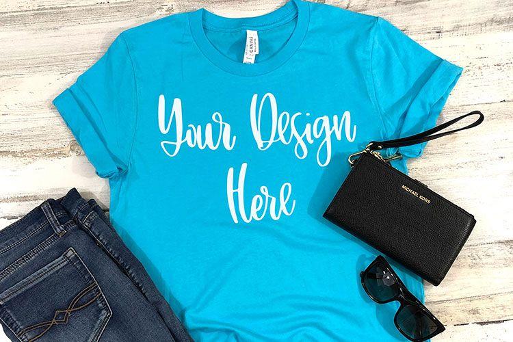 Bella 3001 Turquoise Shirt Mockup Photo - Flatlay Photo example image 1