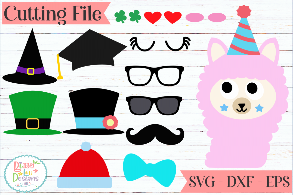 Llama Face and accessories maker SVG Cut File example image 1