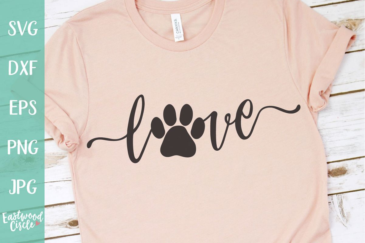 Love with Pawprint - Dog SVG File for Crafters example image 1