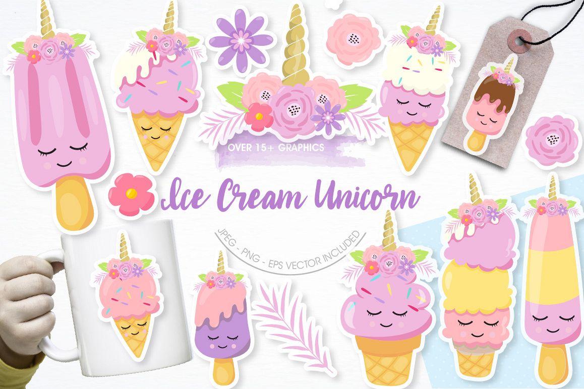 Ice Cream Unicorn graphics and illustrations example image 1