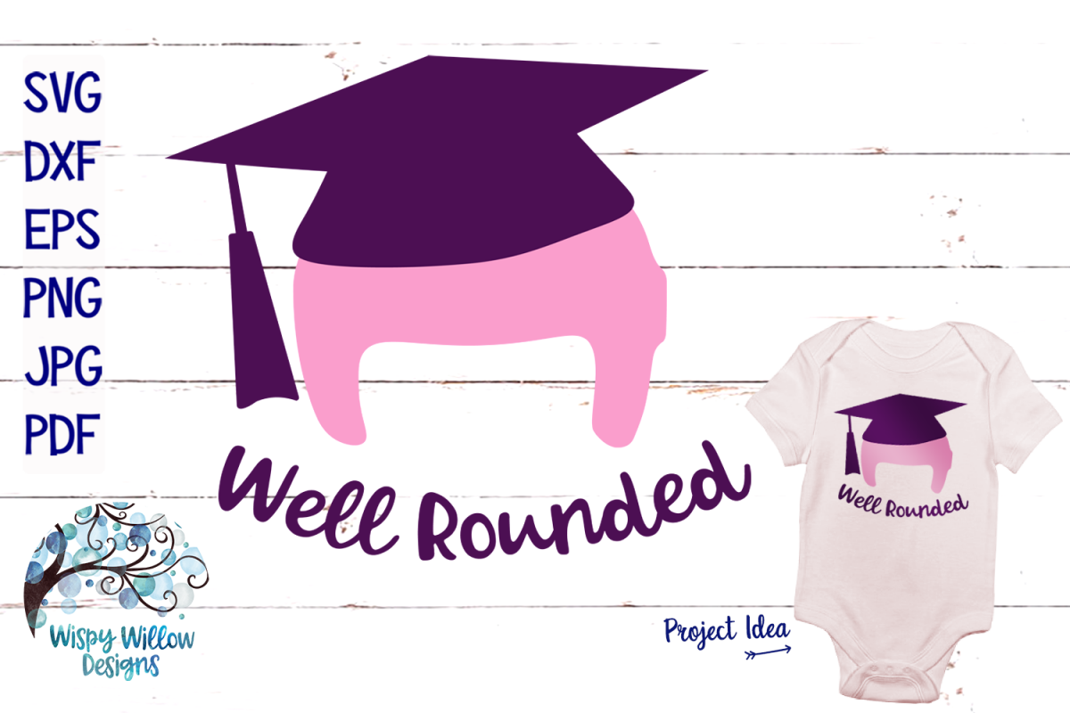 Well Rounded | Cranial Helmet Graduation SVG Cut File example image 1