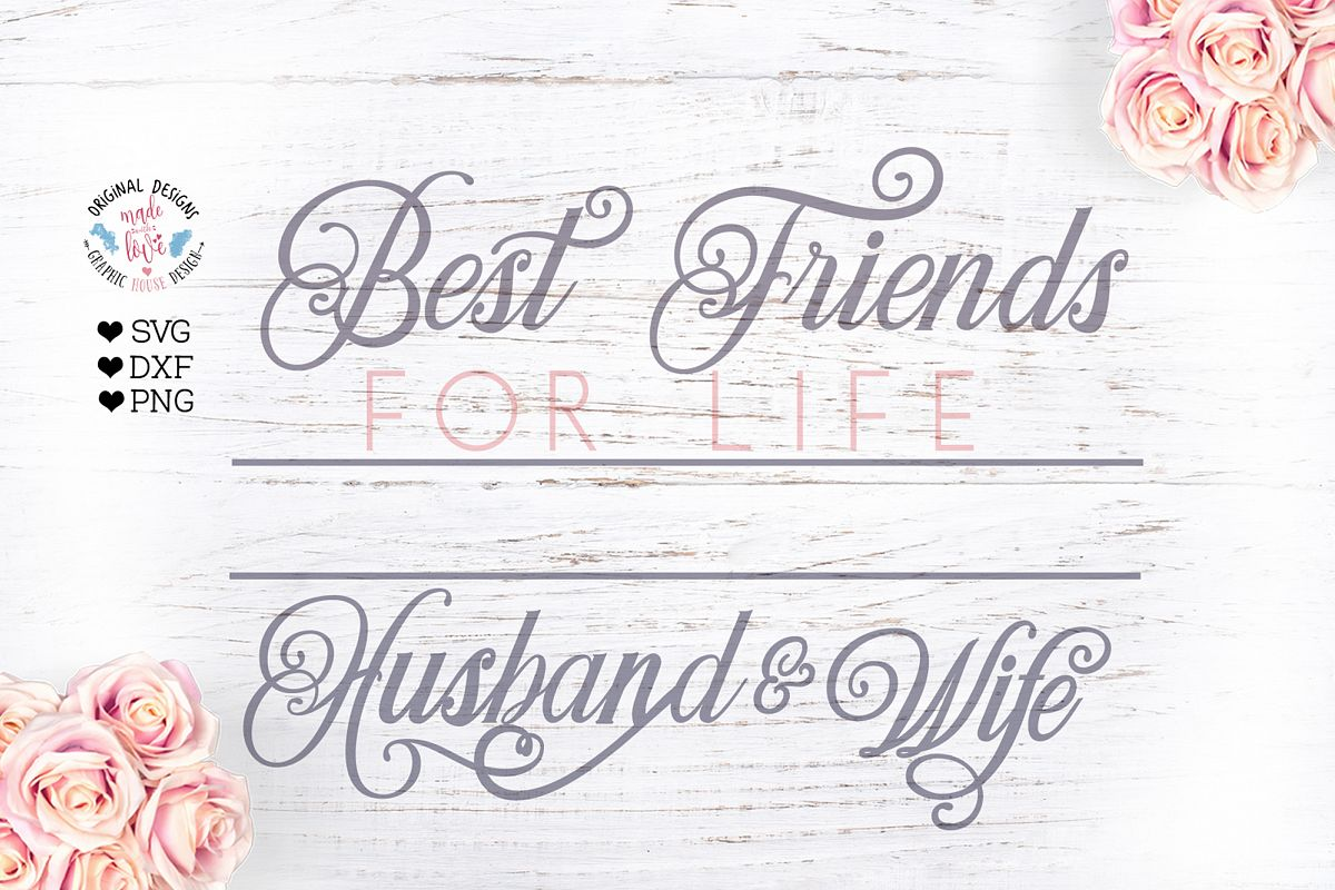 Best Friends For Life Husband and Wife - Wedding Name Frame example image 1