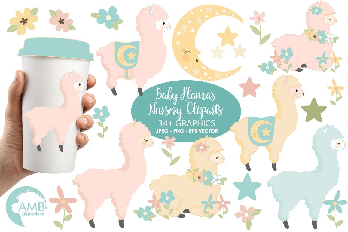 Baby Llama Nursery clipart, graphics, illustrations AMB-2266 example image 1