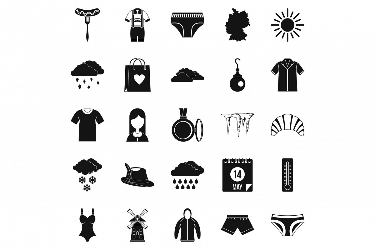 Warm clothes icons set, simple style example image 1