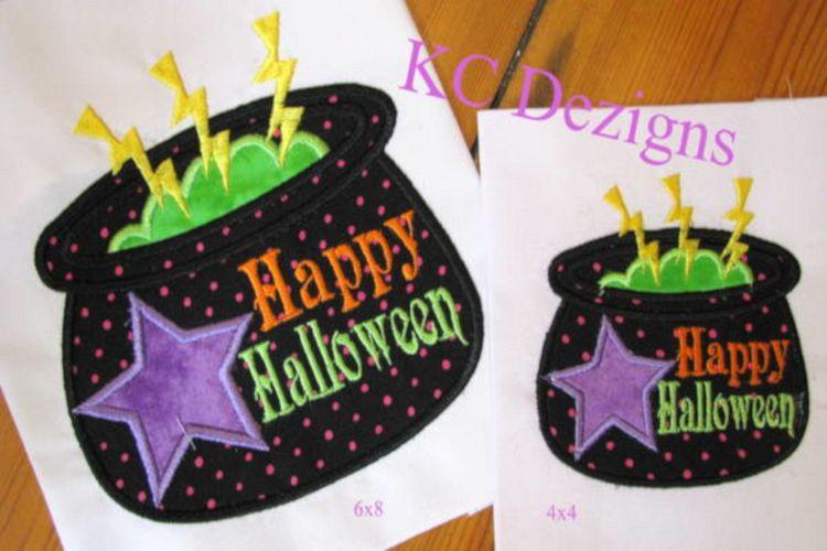 Halloween Cauldren Machine Applique Embroidery Design example image 1