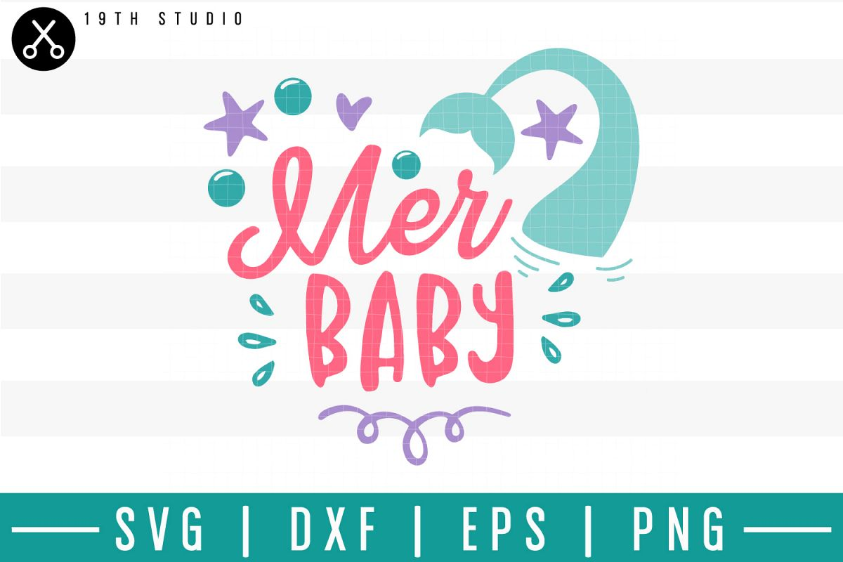 Mer baby SVG  Mermaid SVG example image 1
