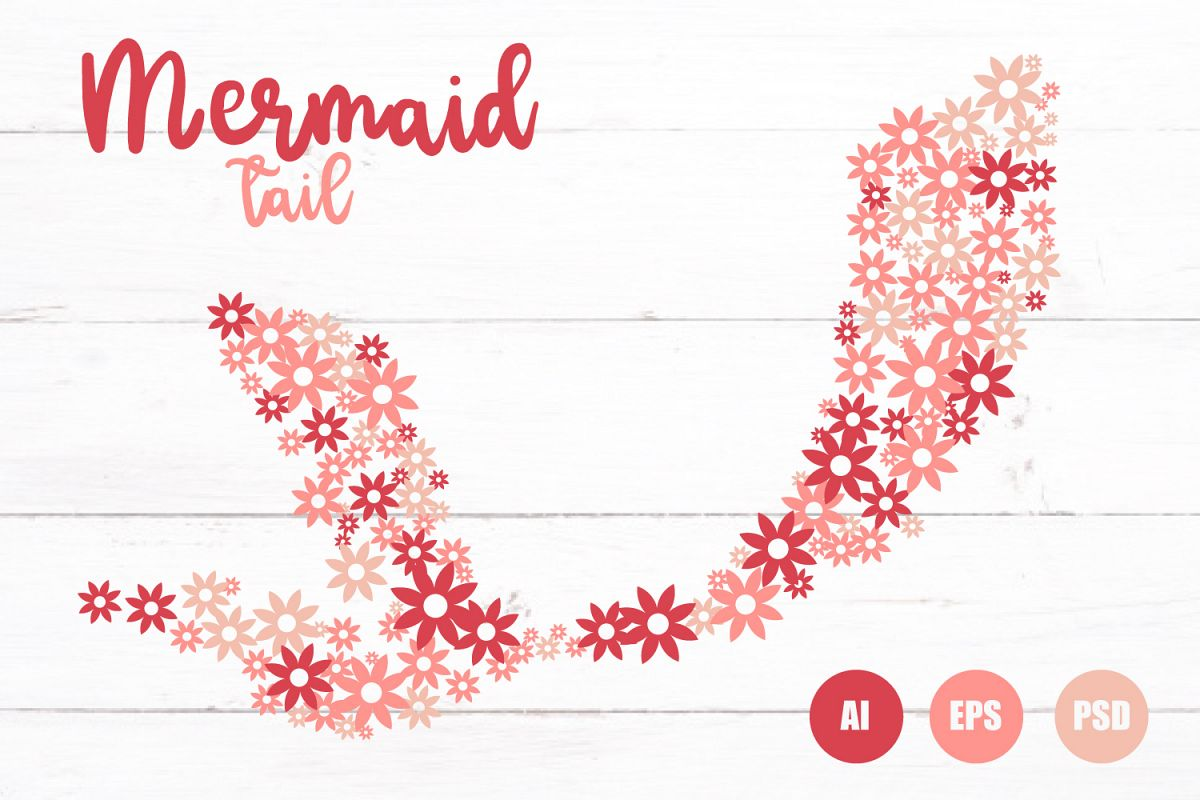 Flower Mermaid Tail Vector EPS, AI, SVG, PDF, PNG example image 1