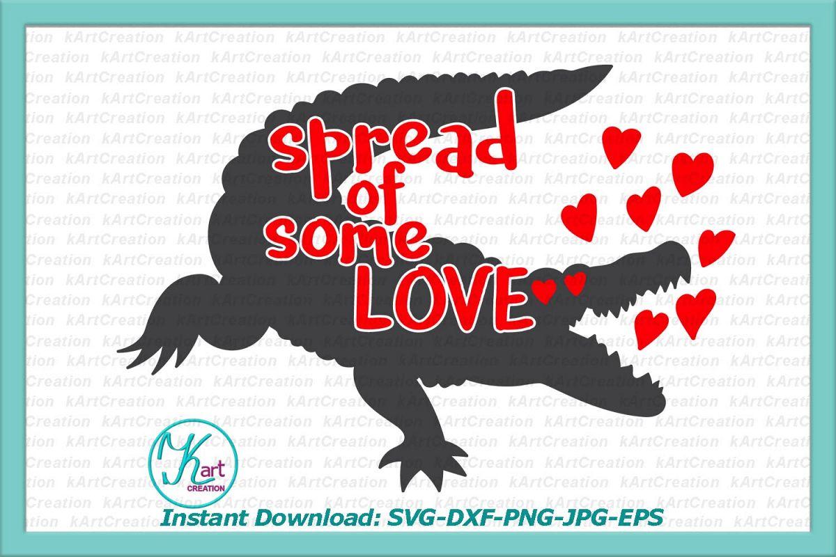 spread love Valentine crocodile alligator hearts svg dxf png example image 1