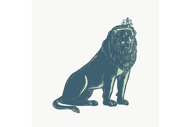 Lion Wearing Tiara Sitting Scratchboard example image 1