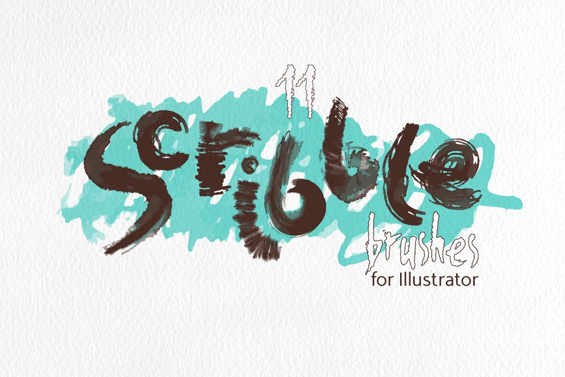 Scribble Brushes for Illustrator example image 1