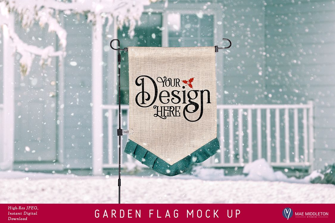Garden Flag mock up for winter or Christmas, styled photo example image 1