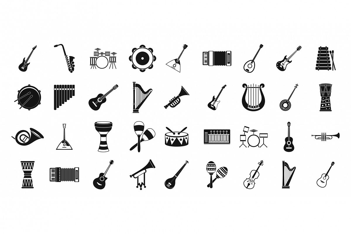 Musical instrument icon set, simple style example image 1