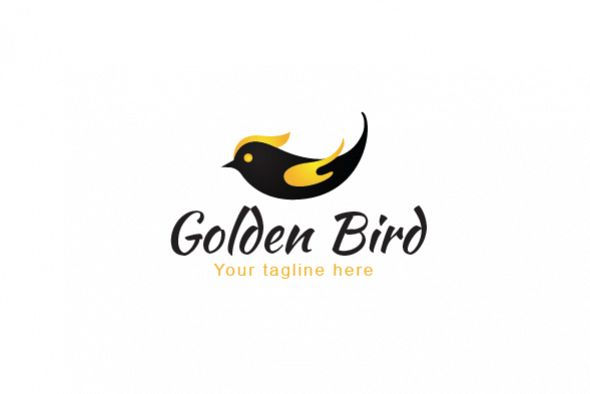 Golden Fly - Black Bird with Golden Wings Stock Logo example image 1
