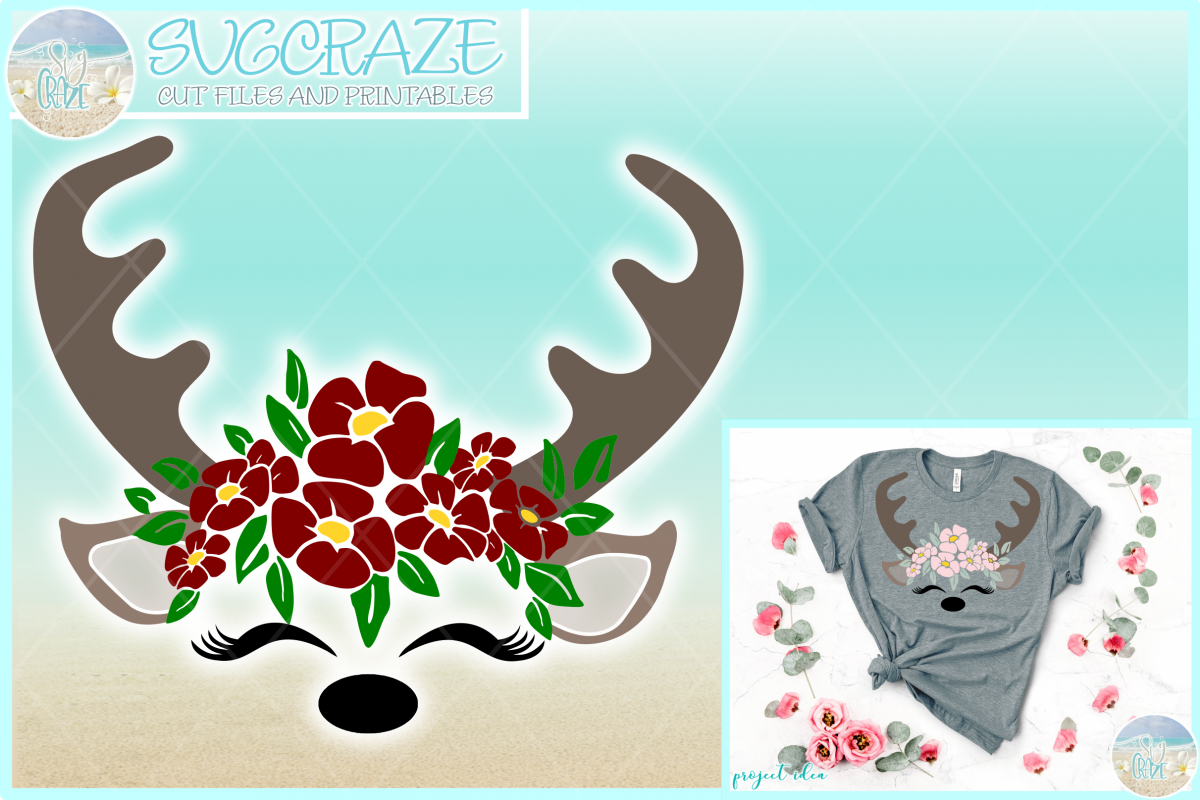 Deer Face With Flowers SVG Dxf Eps Png PDF