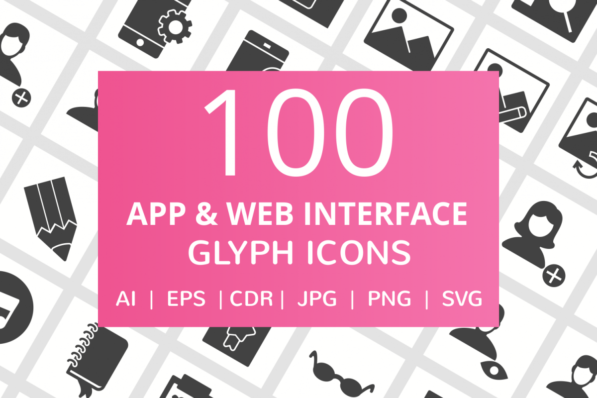 100 App & Web Interface Glyph Icons example image 1
