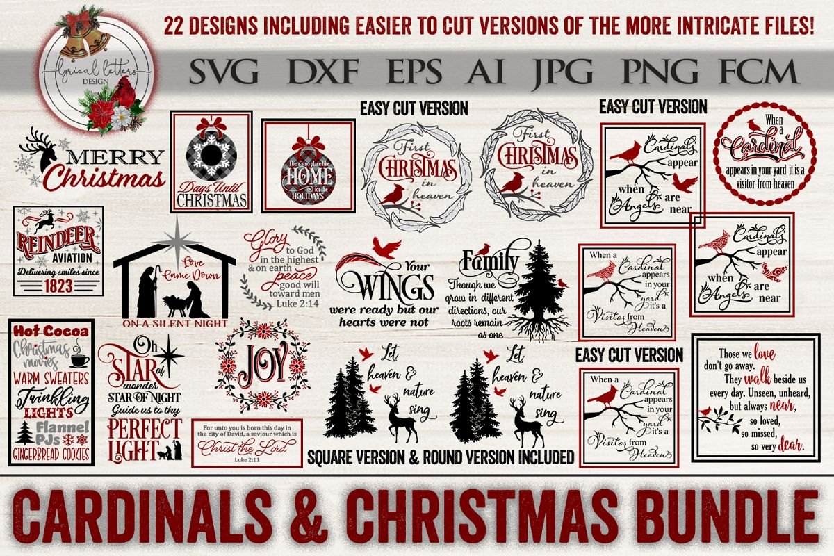 Cardinals & Christmas Bundle of 22 SVG DXF FCM Cut File example image 1