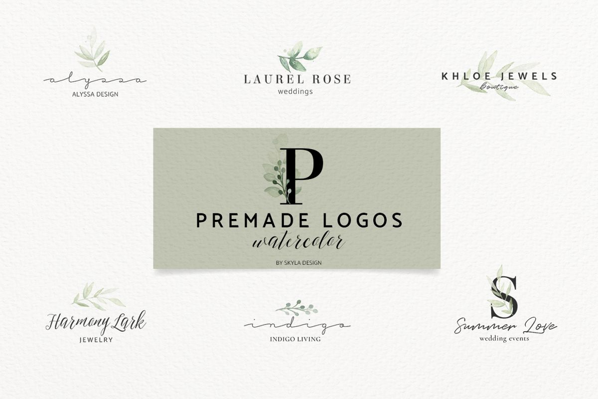 Premade Logo bundle watercolor greenery templates example image 1