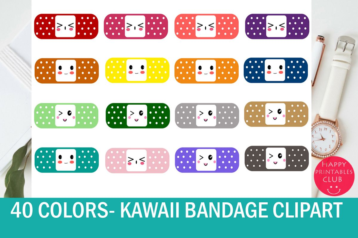 40 Kawaii Bandage-Band Aid Clipart- Colorful Bandaid Clipart