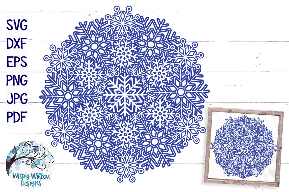 Snowflake Mandala SVG | Winter Mandala SVG Cut File example image 1