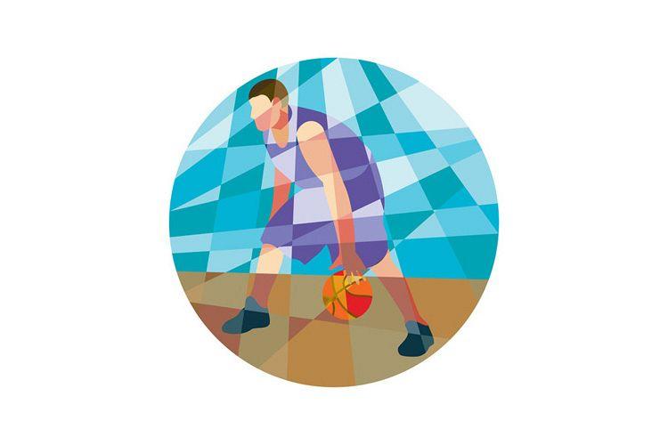 Basketball Player Dribbling Ball Circle Low Polygon example image 1
