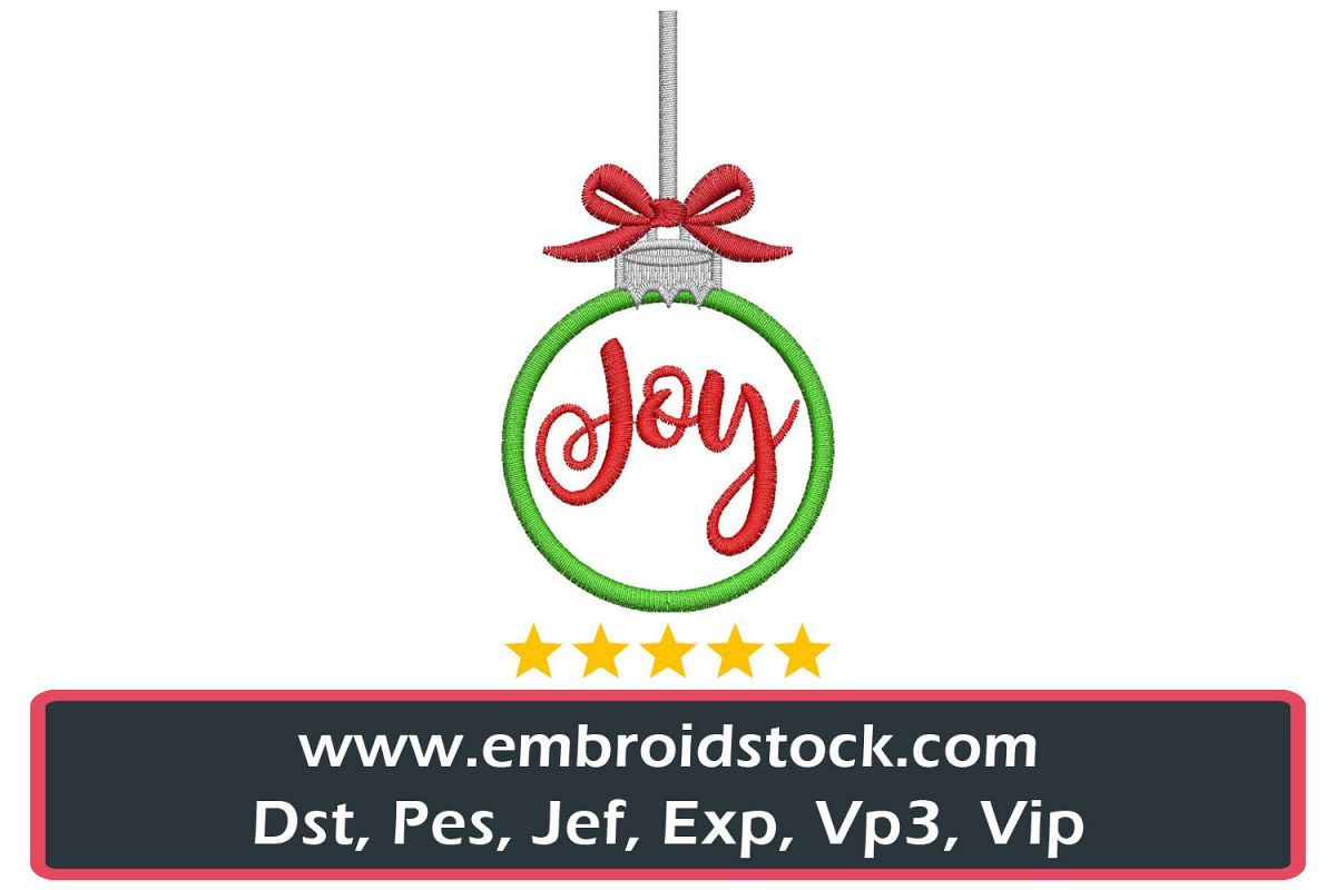 Christmas Joy Ornament Embroidery Design example image 1