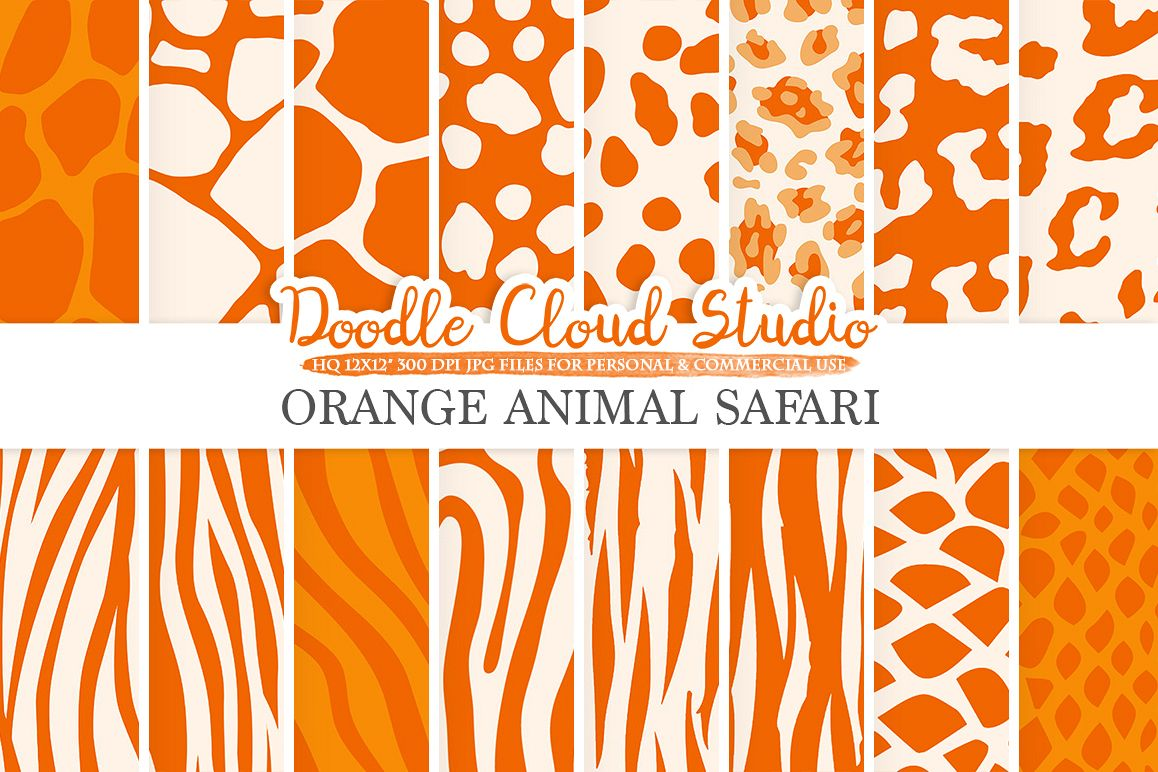 Orange Animal Safari digital paper, Fur pattern, Giraffe Zebra Leopard Snake Tiger backgrounds, Instant Download, Personal & Commercial Use example image 1