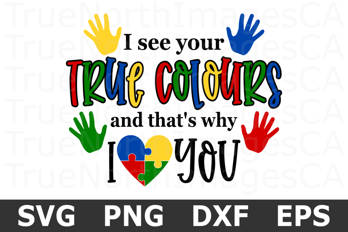 True Colours - An Awareness SVG Cut File example image 1