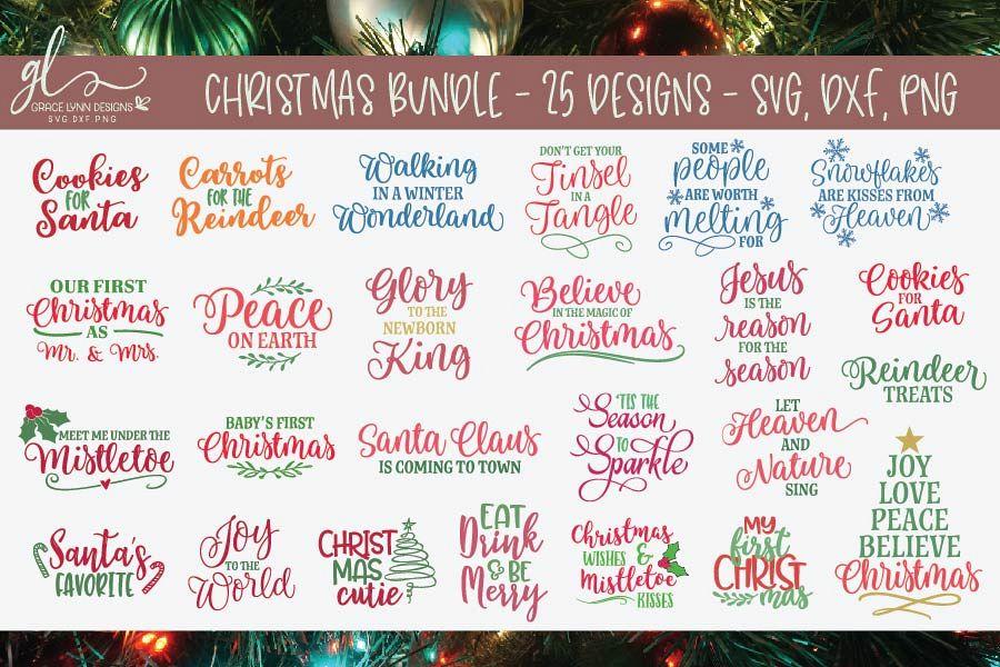 Huge Christmas Bundle - SVG, DXF & PNG - 25 Designs example image 1