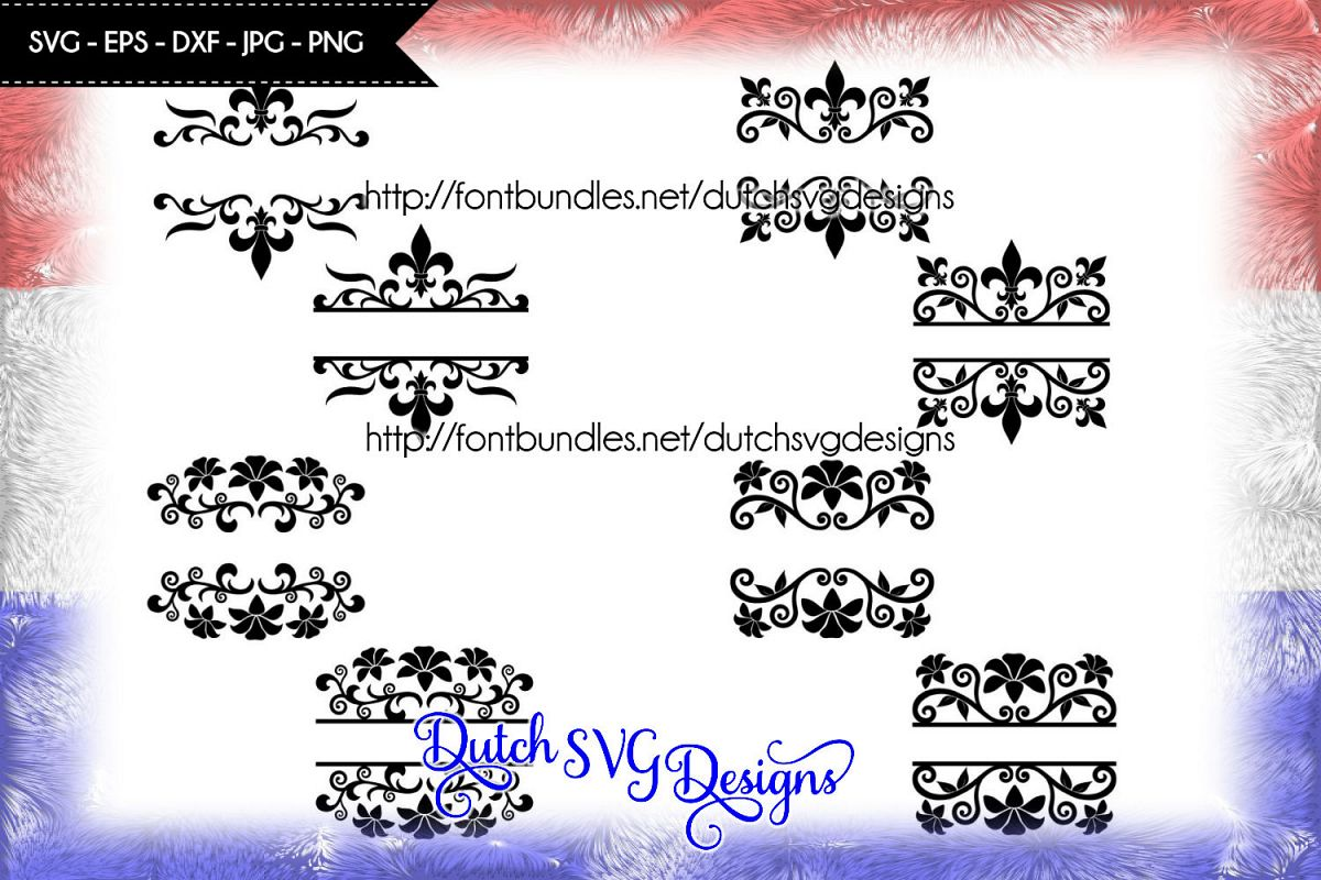 SPECIAL OFFER 8 Split border cutting files, monogram svg example image 1