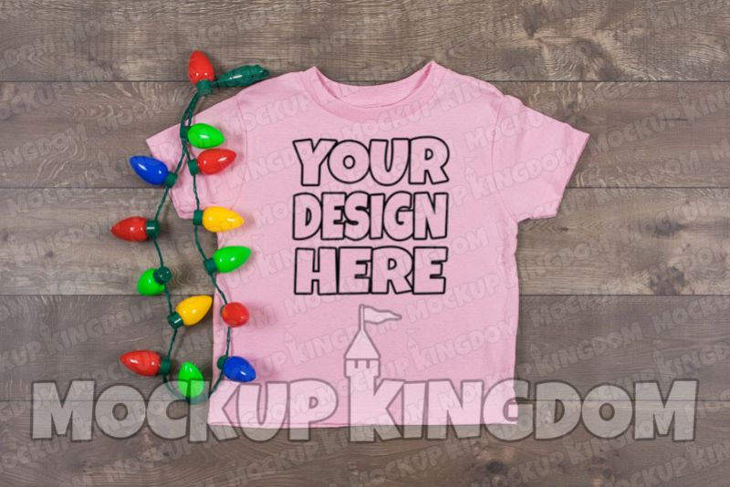 Kids Shirt Mockup, Christmas Shirt Mockup, Youth Tee Mockup example image 1