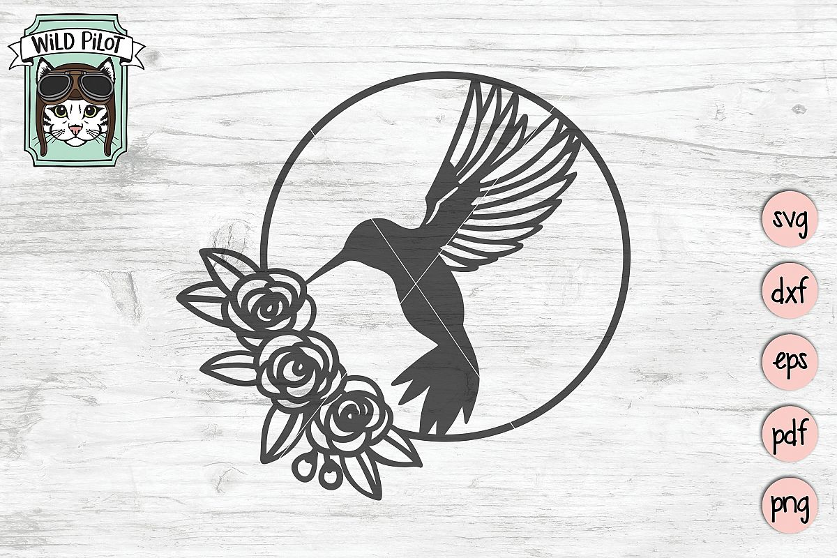 Hummingbird SVG file, Bird Cut file, Flower Bird Wreath example image 1