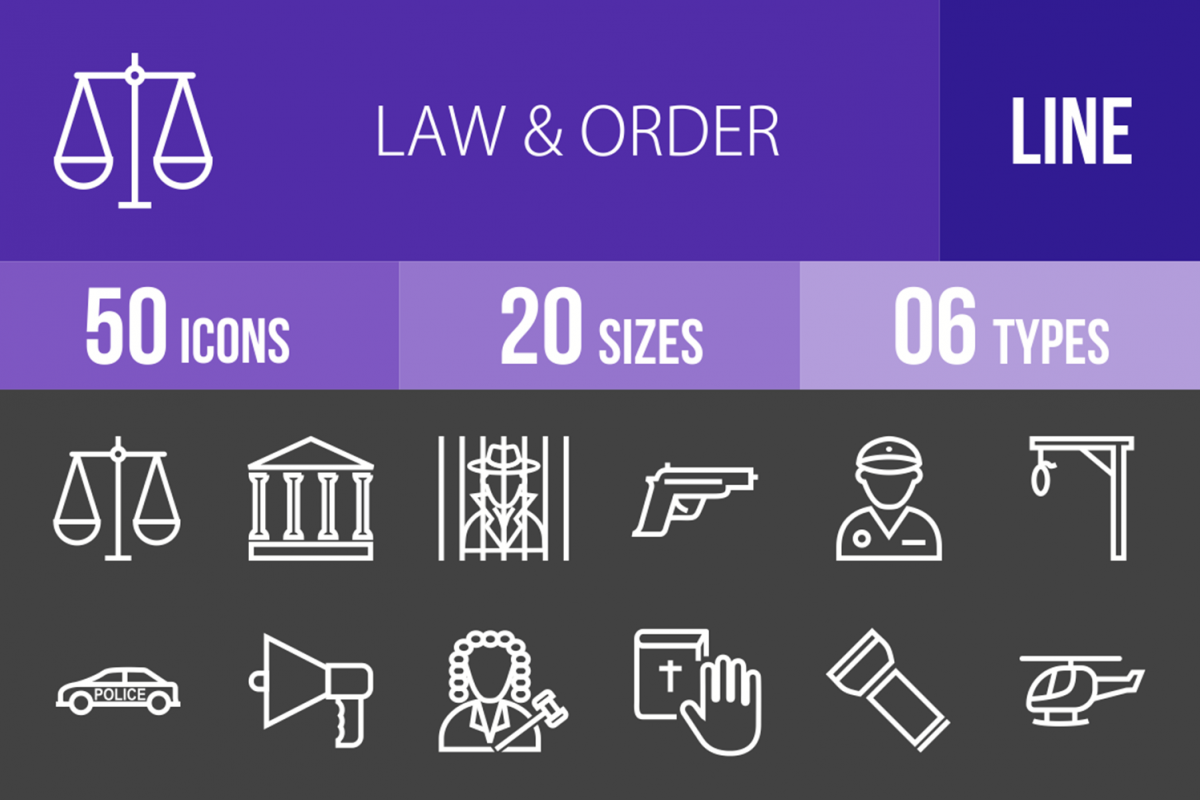 50 Law & Order Line Inverted Icons example image 1