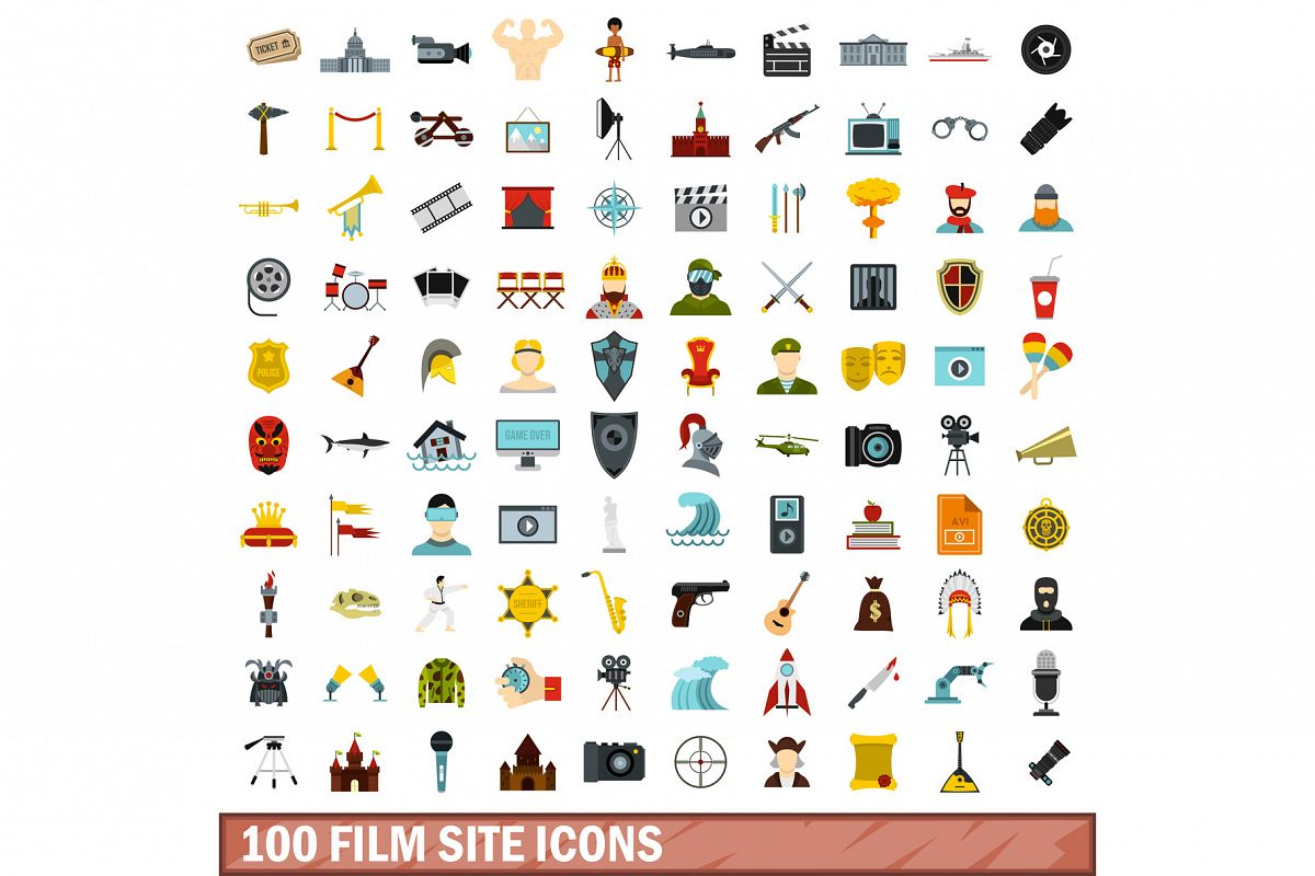 100 film site icons set, flat style example image 1