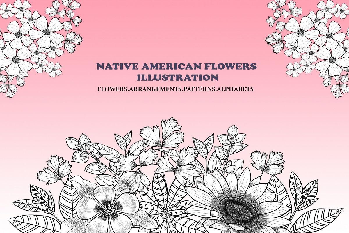 Native American Flowers Illustration example image 1